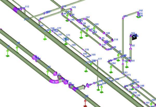 Разветвленная сеть трубопроводов в ПС СТАРТ