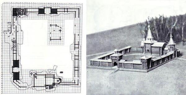 Рис. 6. Схематичный план раскопа и макет Зашиверского острога по исследованиям 196970 годов