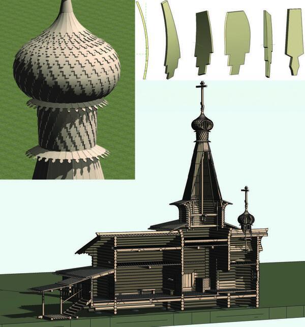 Рис. 7. Некоторые виды составных элементов информационной модели памятника архитектуры и общий вид в разрезе