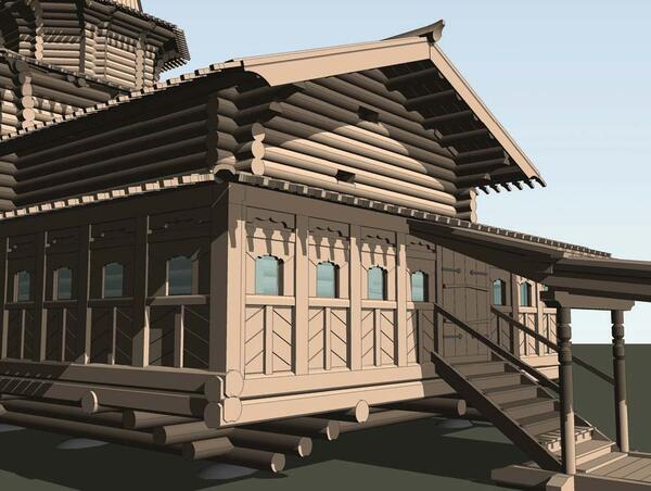 Рис. 8. Фрагмент модели здания – главный вход