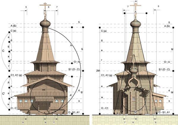 Рис. 10. Западный и восточный фасады информационной модели Зашиверской церкви