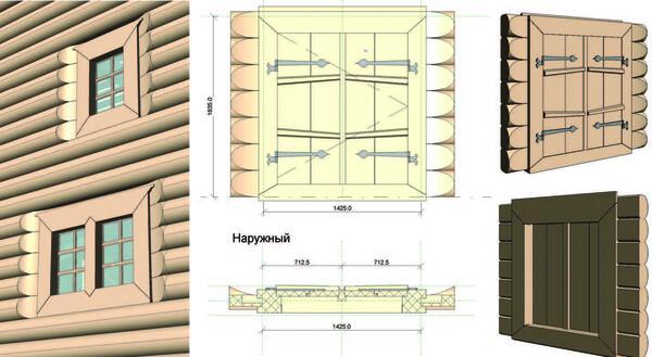 Рис. 12. Комплексные библиотечные элементы окон и дверей, созданные для модели Зашиверской церкви