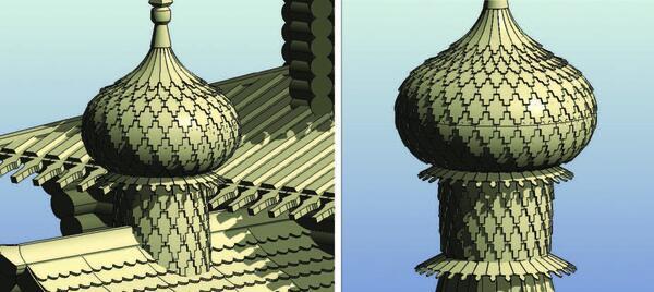 Рис. 15. Алтарная и шатровая главки модели Зашиверской церкви