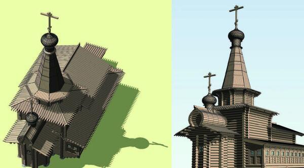 Рис. 16. Различные виды компьютерной модели Зашиверской церкви