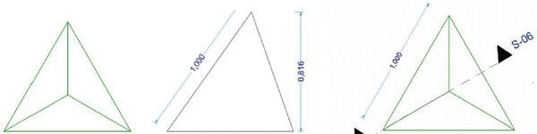 Рис. 1. Сначала размещаем на плане маленькую пирамиду, грань которой равна одному метру. С помощью разреза определяем высоту пирамиды