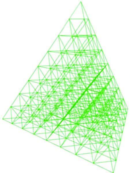 Рис. 4. Сеточная модель конструкции полученной пирамиды