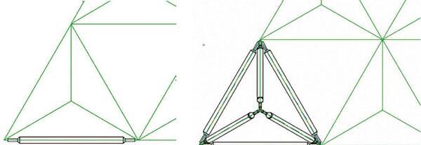 Рис. 5. Связи, разложенные по граням составной части пирамиды