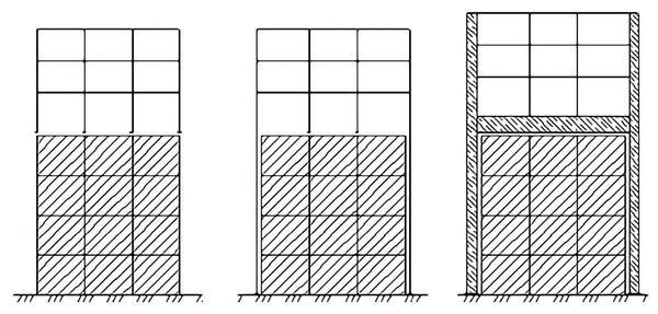 Рис. 4. Возможные схемы устройства трехэтажной надстройки