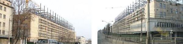 Рис. 7. Общий вид здания в процессе возведения надстройки