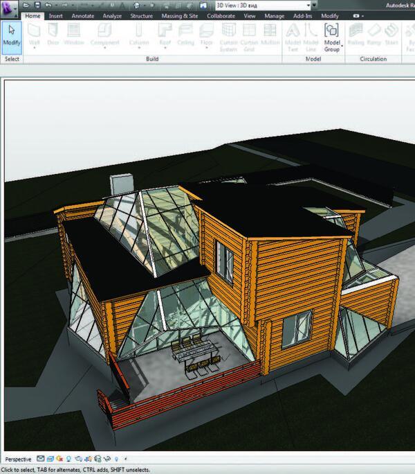 Рис. 1. 3D$вид проекта в Revit Architecture