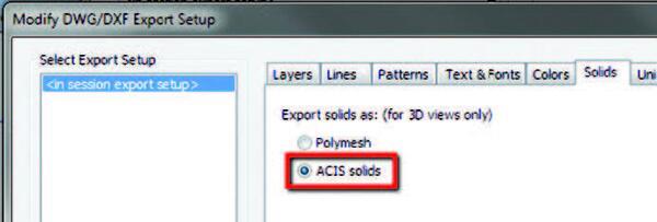 Рис. 3. Включение параметра ACIS solids в параметрах экспорта в DWG
