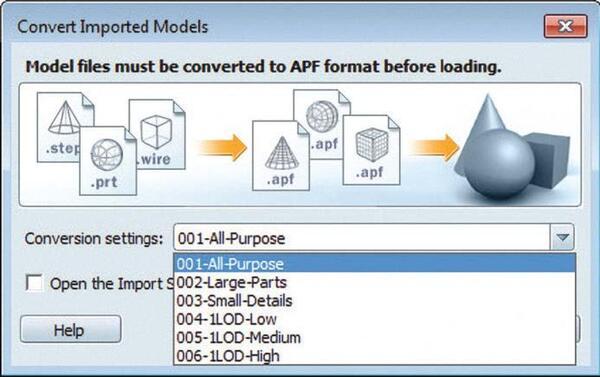 Рис. 1. Выбор качества импортируемой модели