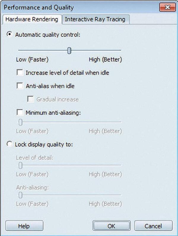 Рис. 7. Окно настроек производительности и качества