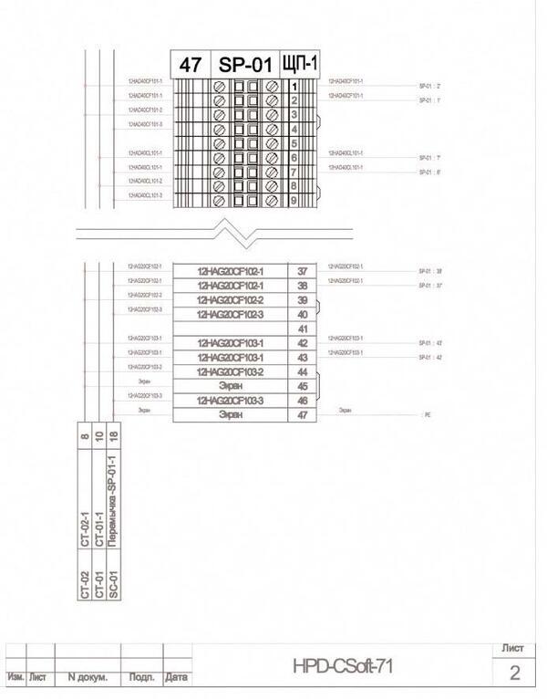 Рис. 8. Фрагмент документа Подключение кабелей к рядам зажимов