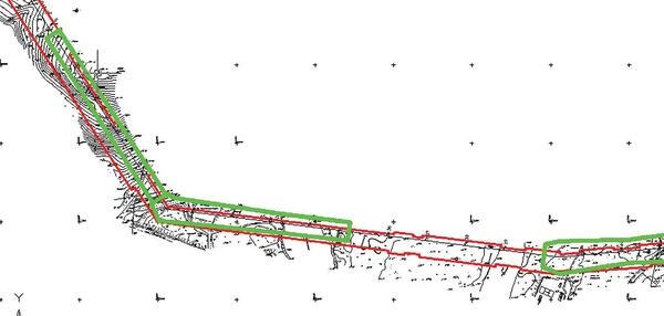 Рис. 17. Результат расчета ширины вырубки просеки на плане