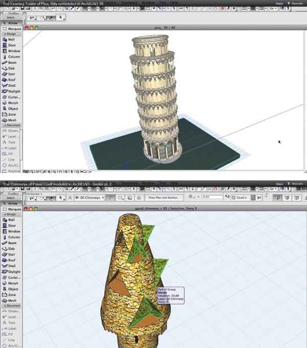 Рис. 3. На видео, выпущенном компанией Graphisoft, демонстрируются возможности инструмента Морф в формообразовании - например, при построении классических зданий