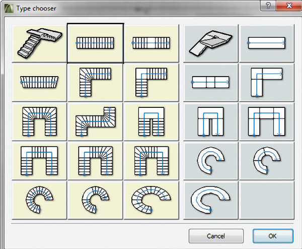 Рис. 2. Модуль ArchiStair предназначен для моделирования лестниц и пандусов различных типов