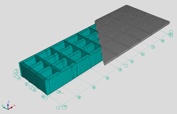 Расчетная схема пролетного строения: изометрия, вид сверху
