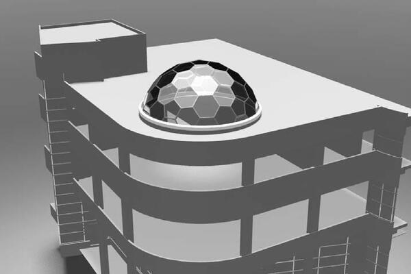 Проект здания с куполом, выполненным с помощью архитектурной системы Alumax AF50. Для создания купола достаточно одного узла и двух уникальных сборок