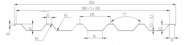 Рис. 1. Профилированный лист с высотой трапеции 44 мм