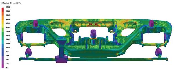 Рис. 4. Напряжения в отливке перед выбивкой формы: а) поле напряжений; б) изменение температуры и напряжений при остывании во внутреннем радиусе (R55) буксового проема