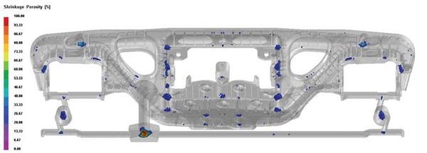 Рис. 5. Распределение усадочных раковин в отливке (пористость от 20% и выше по шкале ProCAST)