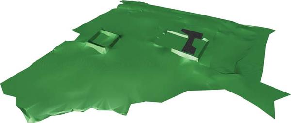 Рис. 1. Модель рельефа площадки проектирования, выполненная в ПО GeoniCS (визуализация в Autodesk Navisworks)