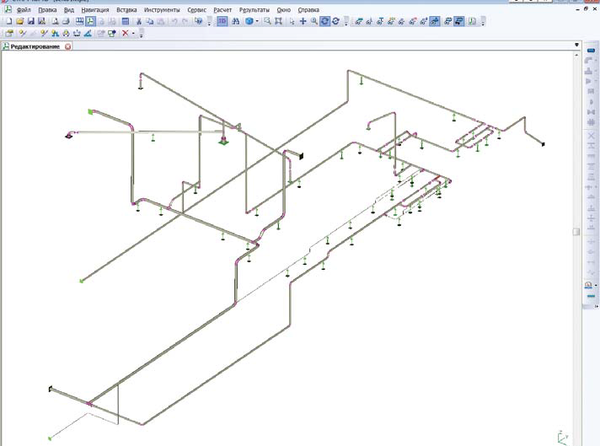 Рис. 4. Расчетная схема трубопроводов в ПО СТАРТ