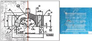 Рис. 4. Растровые чертежи часто требуют восстановления и реставрации - особенно старые чертежи&синьки (чертежи взяты с сайта RasterArts.ru и из Википедии)