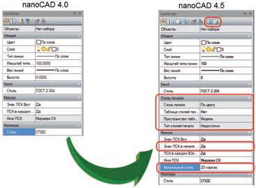 Рис. 11. Окно Свойства: постоянное расширение числа отображаемых свойств позволяет все более комфортно работать с САПР в среде nanoCAD
