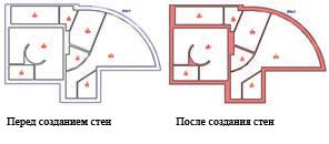 Рис. 6. Контуры комнаты и создание стен между ними