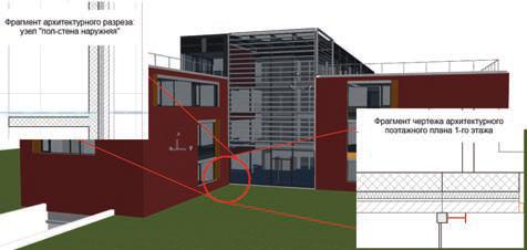 Рис. 2. Архитектурное отображение BIM&модели: отделочные слои, декоративные конструкции и т.п.