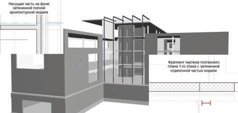 Рис. 3. Очищенное архитектурное отображение BIM&модели, готовое к экспорту конструктору