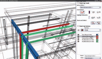 Рис. 7. Пример работы ArchiCAD&Tekla: возврат данных и контроль изменений BIM&моделей