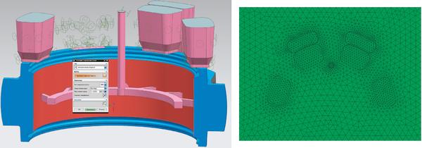 Рис. 3. Создание КЭ-модели в NX: а) результат автоматического поиска сопряженных поверхностей; б) сопряженные 3D-сетки литейного блока и формы (вид сверху) (модель ООО ЗРГО)