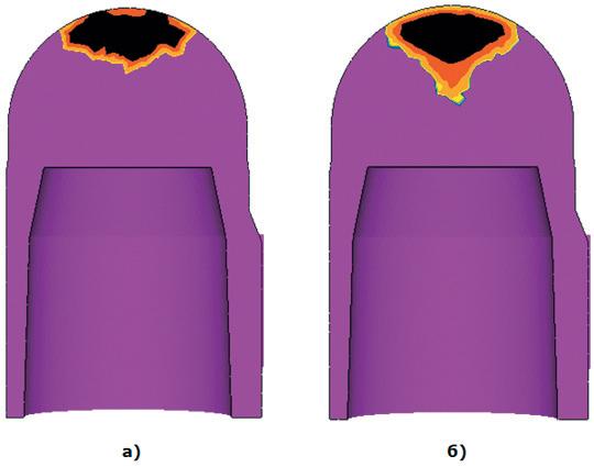 Рис. 7. Сравнение формы усадочной раковины: а) стандартная модель МАКРО; б) новая модель МАКРО