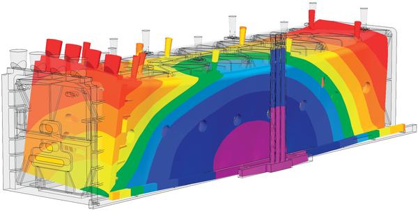 Рис. 8. Деформация крупногабаритной отливки, рассчитанная в модуле Гук-3D (масштаб перемещений 1:10) (модель ЗАО Петрозаводскмаш)