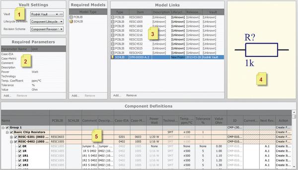 Рис. 2. Интерфейс для создания компонентов в БД Vault