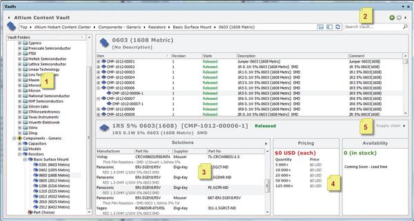 Рис. 3. Интерфейс доступа к компонентам БД в Vault