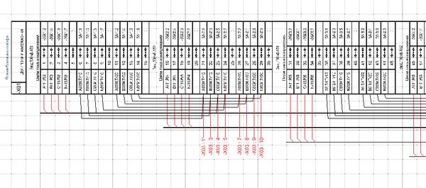 Рис. 7. ГФД, схема подключения кабелей к рядам зажимов, цепи тока и напряжения