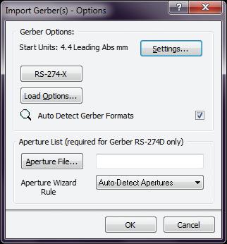 Рис. 8. Окно параметров gerber-файлов