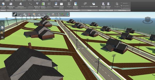 Рис. 5. Модель ЛЭП 0,4 кВ коттеджного поселка в Autodesk InfraWorks