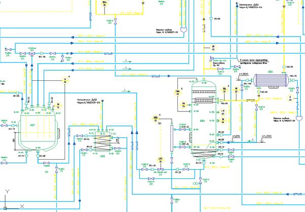 Рис. 3. Фрагмент технологической схемы, выполненной в модуле PLANT-4D Схемы