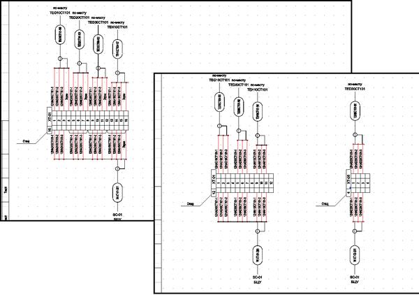 Рис. 11. Фрагмент документа Схема подключения кабелей к рядам зажимов до и после внесения изменений