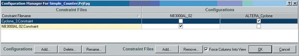 Рис. 3. Диалог настройки конфигурации FPGA-проекта