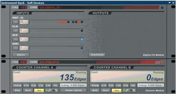 Рис. 10. Панель виртуальных инструментов отладки. В панели виртуального цифрового модуля световыми индикаторами отображаются логические уровни сигналов на внутренних узлах ПЛИС и выходных контактах. Одновременно в левой части поля SQ[7..0] выводится шестнадцатеричное число, показывающее состояние разрядов регистра