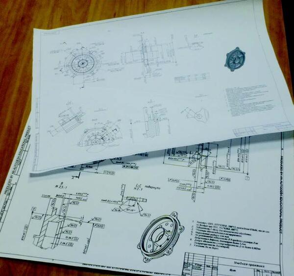 Примеры чертежей, выполненных в ходе практики на ЗАО Орбита