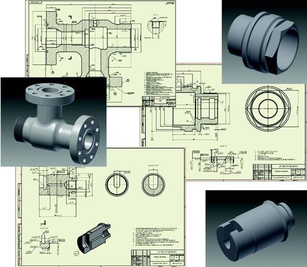 Примеры моделей и чертежей, выполненных в ходе практики на ООО НПО Нефтегаздеталь