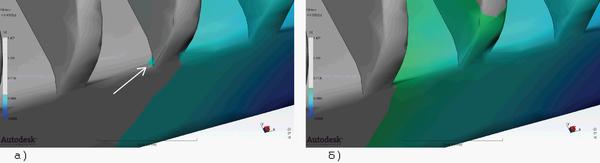 Рис. 6. Синхронизация течения в области ребра при анализе заполнения по методу Dual Domain; представлены последовательные этапы а) и б) течения расплава (стрелкой показан начальный момент синхронизации потоков при заполнении ребра)