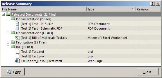 Рис. 5. Отчет о выпуске файлов для производства и конструкторской документации